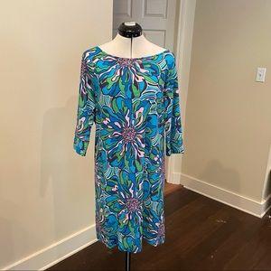 Lilly Pulitzer Blue Floral Cotton Bias Dress, Sz L